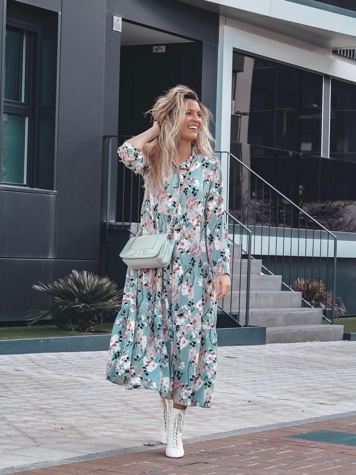 vestido largo flores aguamarina