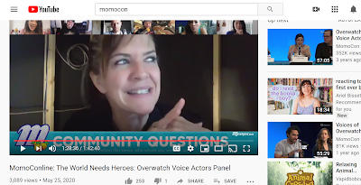 Screenshot showing Jennifer Hale speaking in an online Momocon panel