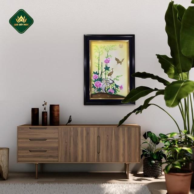 tranh phong cảnh cánh đồng hoa đẹp hoa mẫu đơn và hạc