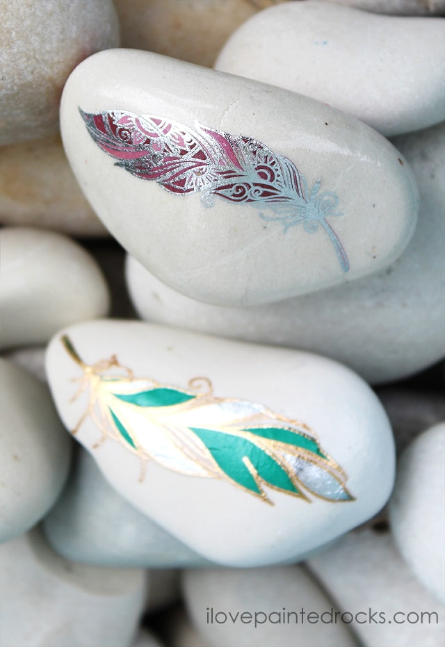 feather rock painting ideas with tattoos