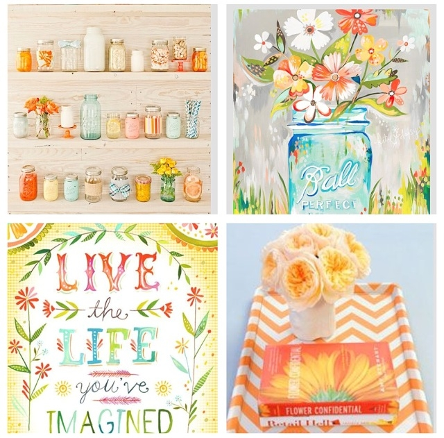 Orange, aqua, green, grey mood board