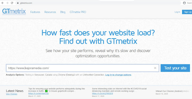 cek loading website dengan gt metrix