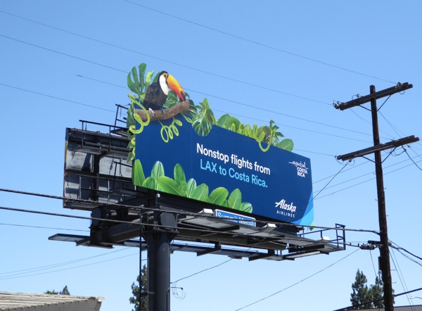 Alaska Airlines LAX to Costa Rica special extension billboard