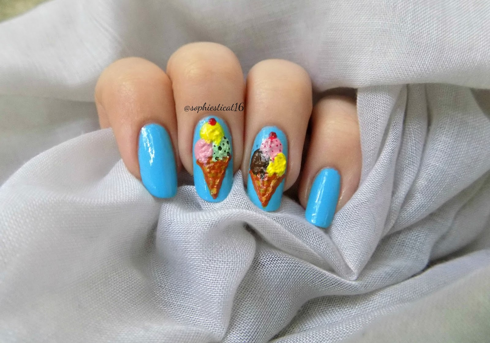 Junes nail challenge i scream for ice cream sophies nail art since i havent done anything spectacular lately i thought to myself this week ill have to go over the top i looked at my nail polish collection prinsesfo Image collections