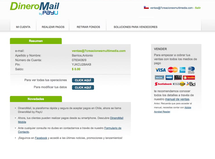 DineroMail Account Deposit Screen