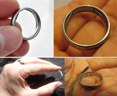 wearable tools for EDC, camping, hiking, survival, outdoors - Titanium Escape Ring