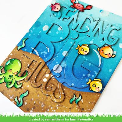 Sending Big Hugs Card by Samantha Mann, Lawn Fawnatics Challenge, Lawn Fawn, Die Cutting, Distress Inks, Cards, Card Making, Handmade Cards, Stencil,  #lawnfawnatics #lawnfawn #distressinks #inkblending #cardmaking #ocean #underthesea #stencil #handmadecard