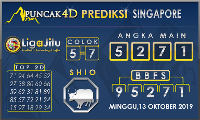 PREDIKSI TOGEL SINGAPORE PUNCAK4D 13 OKTOBER 2019