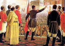 Dibujo de José de San Martín en el día de la Independencia del Perú