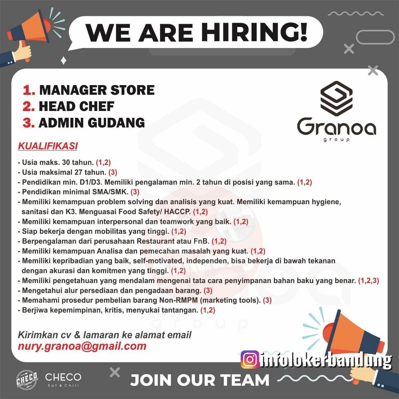 Lowongan Kerja Granoa Group Bandung Februari 2020