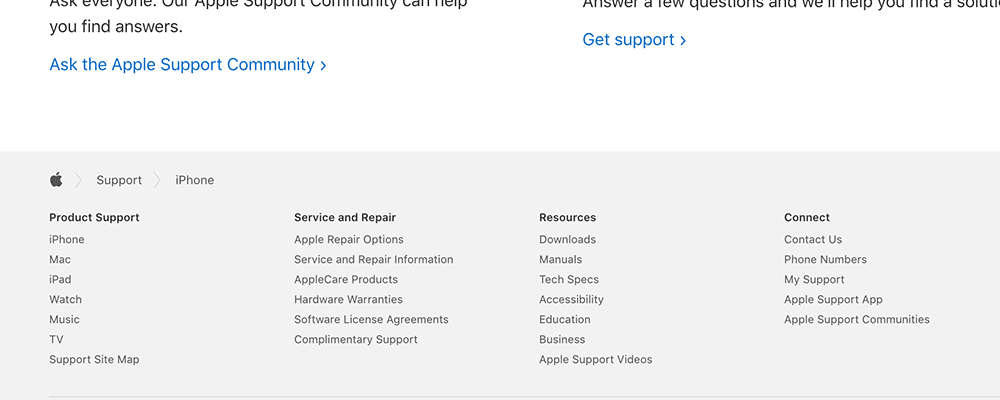 Apple website breadcrumbs in footer