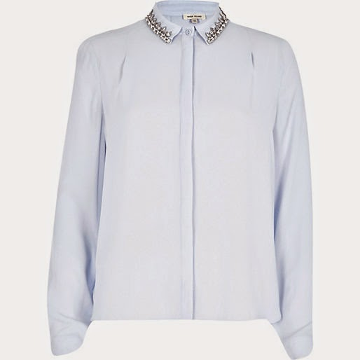 light blue shirt with crystal collar
