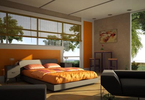 Inspirasi Desain Kamar Tidur Bertema Warna Orange