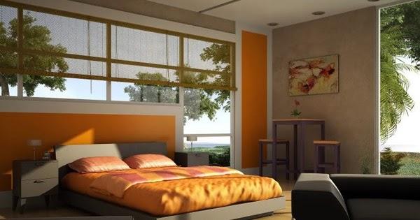 Inspirasi Desain Kamar Tidur Bertema Warna Orange Dengan ...