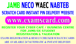 Buy JAMB, NECO, WAEC & NABTEB Scratch Cards from ExamsCard.com