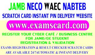 Buy JAMB, NECO, WAEC & NABTEB Scratch Cards from ExamsCard.com