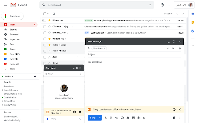 See when someone is out of office in Gmail and Hangouts Chat