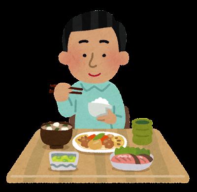 和食を食べる東南アジア人の男性のイラスト