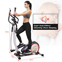 "Compact design of SNODE E20 & E20i Elliptical Trainer Machines, Dimensions: 47"" long x 24"" wide x 61"" high"