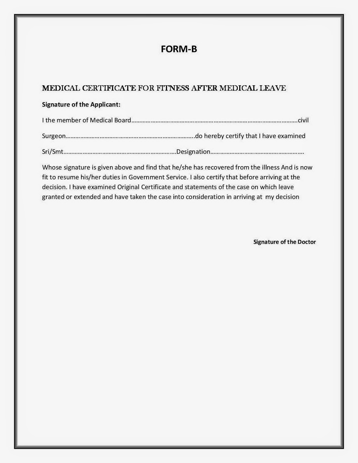 form a and form b for medical leave