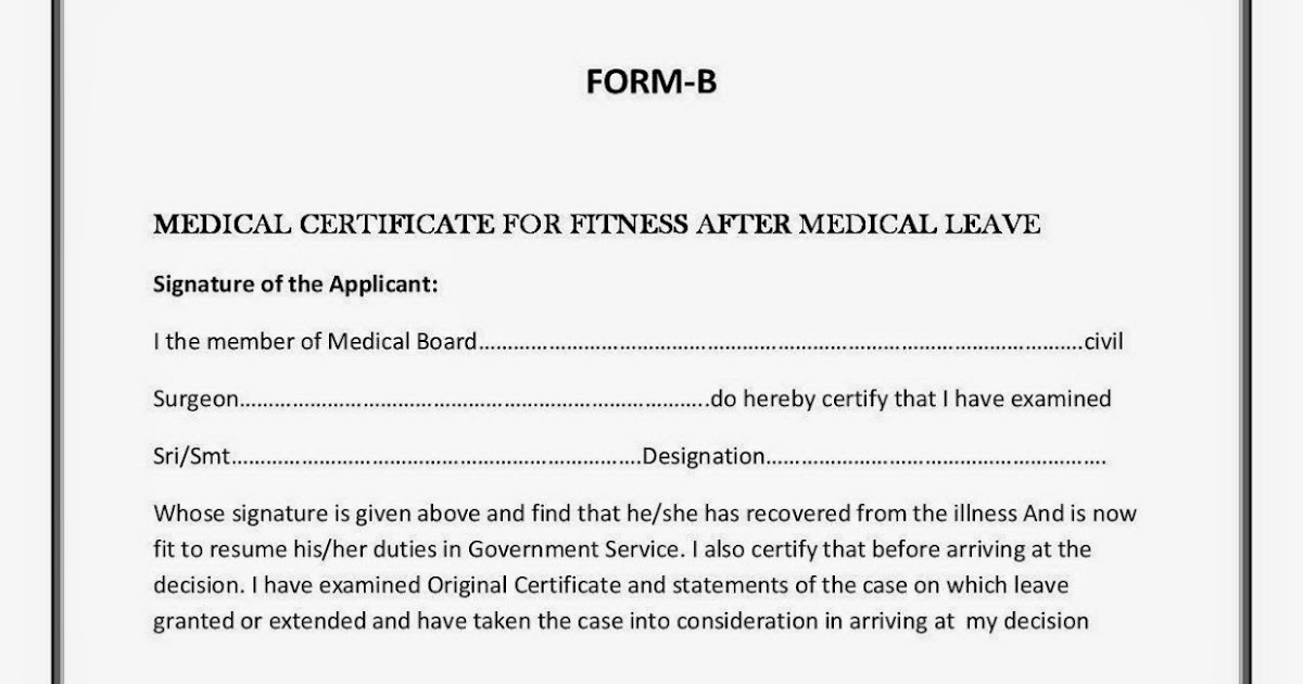 medical leave form – Medical Certificate Format
