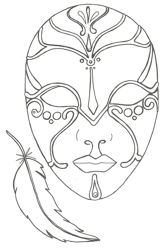 Mascara de carnaval para imprimir e colorir