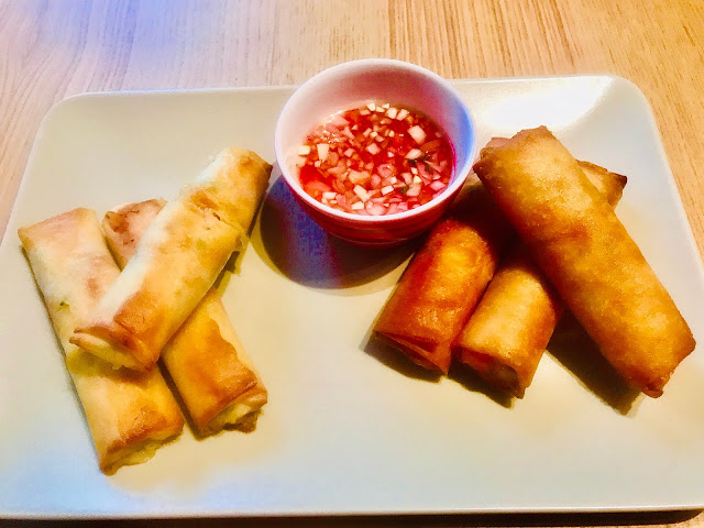 Crispy Vietnamese prawn and vegetable spring rolls with nuoc cham dipping sauce