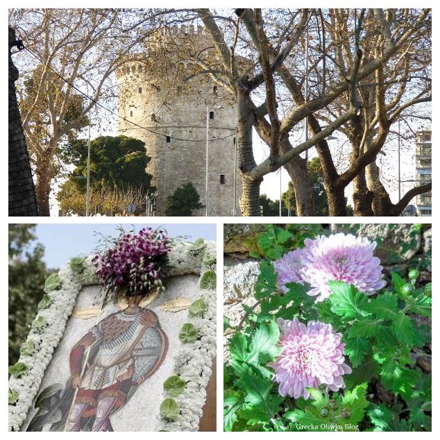Biała wieża Salonik, ikona św Demetriusza, kwitnące chryzantemy. Jesień w Grecji.
