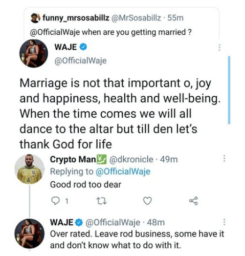 Marriage is not that important - Singer Waje says