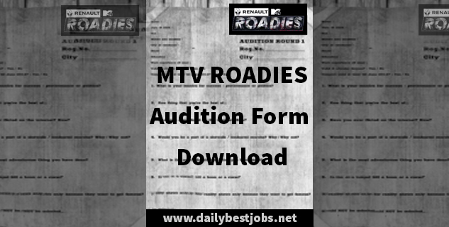 MTV Roadies Xtreme Audition Form Download 2017