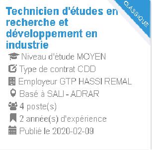 Technicien d'études en recherche et développement en industrie GTP HASSI REMAL
