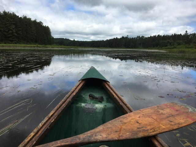front of a canoe, a paddle lying across the gunnels