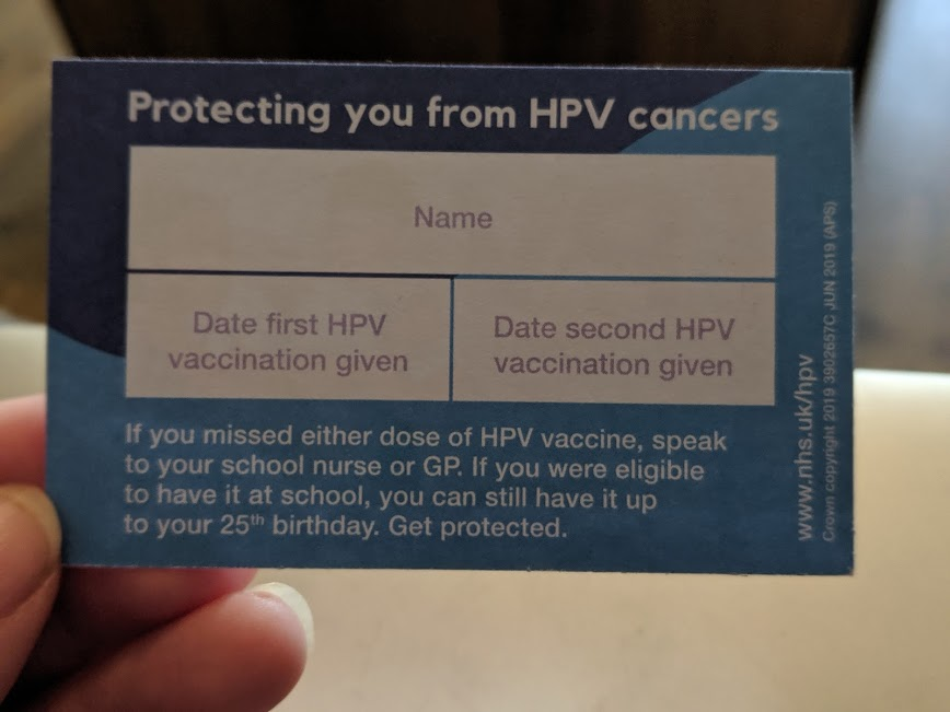 IMAGE 5 - Vaccination card - A Parent's Guide to the HPV Vaccine for Year 8 Students