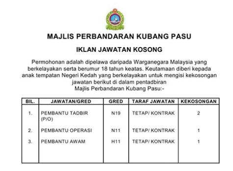Jawatan Kosong di Majlis Perbandaran Kubang Pasu (MPKP)