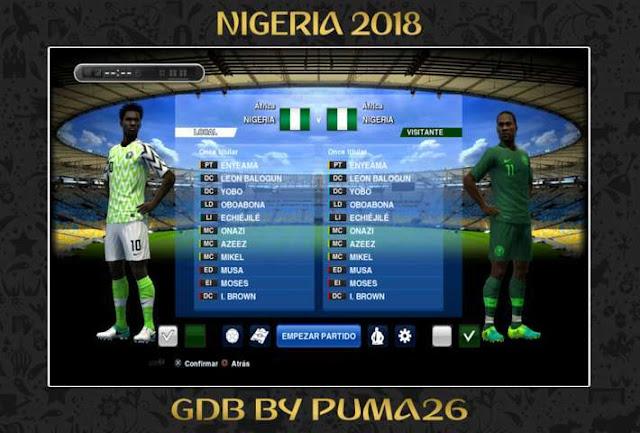 Nigeria 2018 Kit PES 2013