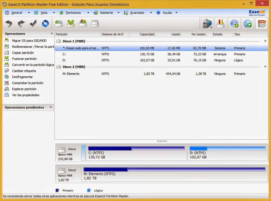 Gestionar particiones de tus discos duros y unidades USB