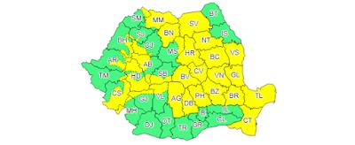 ANM, időjárás, Románia, esőzések, jégeső, erős szél