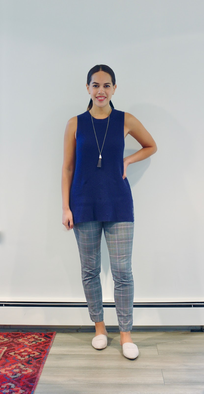 Jules in Flats - Plaid Pants with Sleeveless Knit Tunic (Business Casual Workwear on a Budget)
