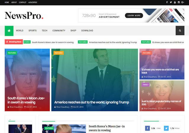 NewsPro Free Blogger Template