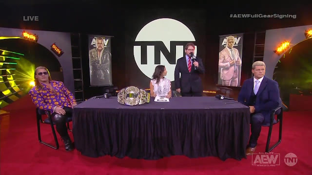 The contract signing between Chris Jericho and Cody for the AEW World Championship.