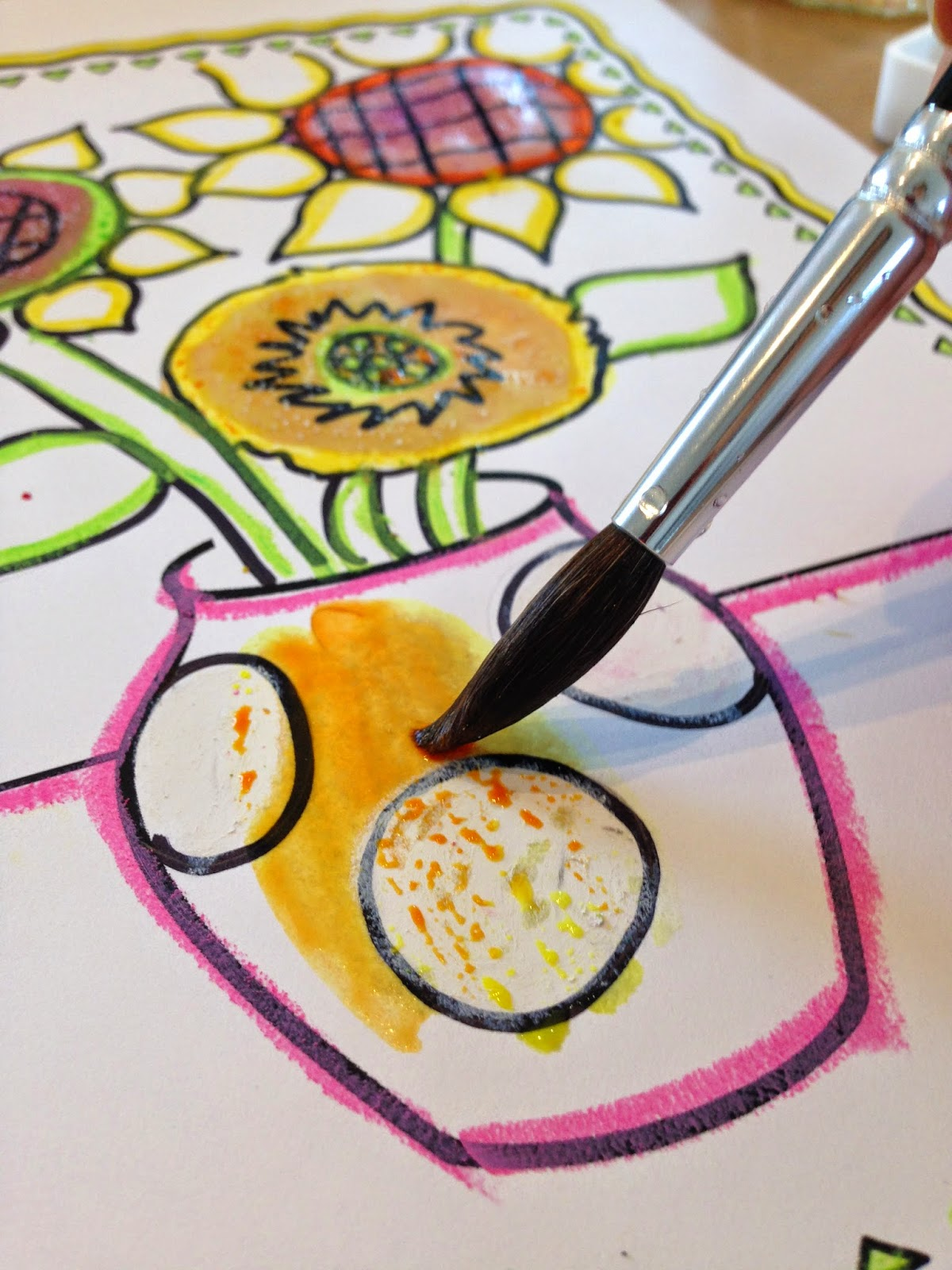Expressive Monkey demonstrates how to use salt, watercolors and oil pastels on a sunflower drawing.