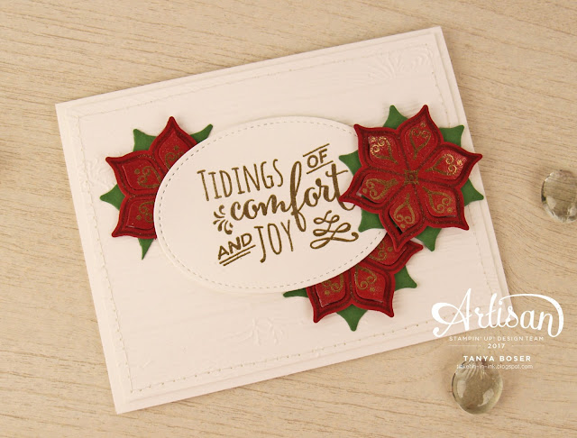 Eastern Beauty and Christmas Pines stamp sets from Stampin' Up! used together create a wonderful Christmas poinsettia card! ~Tanya Boser for the Stamp Review Crew