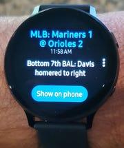 The CBS Sports app on the Samsung smartwatch