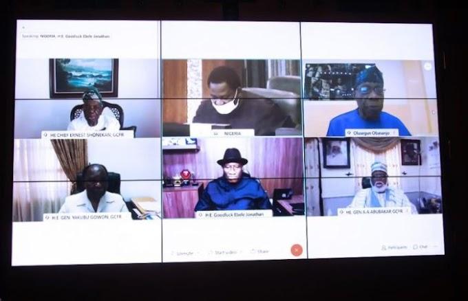 JUST IN!!! Buhari In Virtual Meeting With Gowon, Obasanjo, Abdulsalami, Shonekan