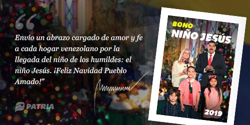 Inicia la entrega del último bono del 2019, el Bono Niño Jesús. La entrega tendrá lugar desde el 24 al 31 de diciembre de 2019