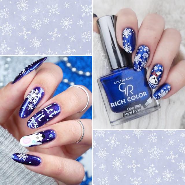 zimowy kolaż zdobień paznokci