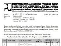 Rekrutmen Tenaga Fasilitator (TFL) Program Sanimas IDB Kementerian PUPR 2018