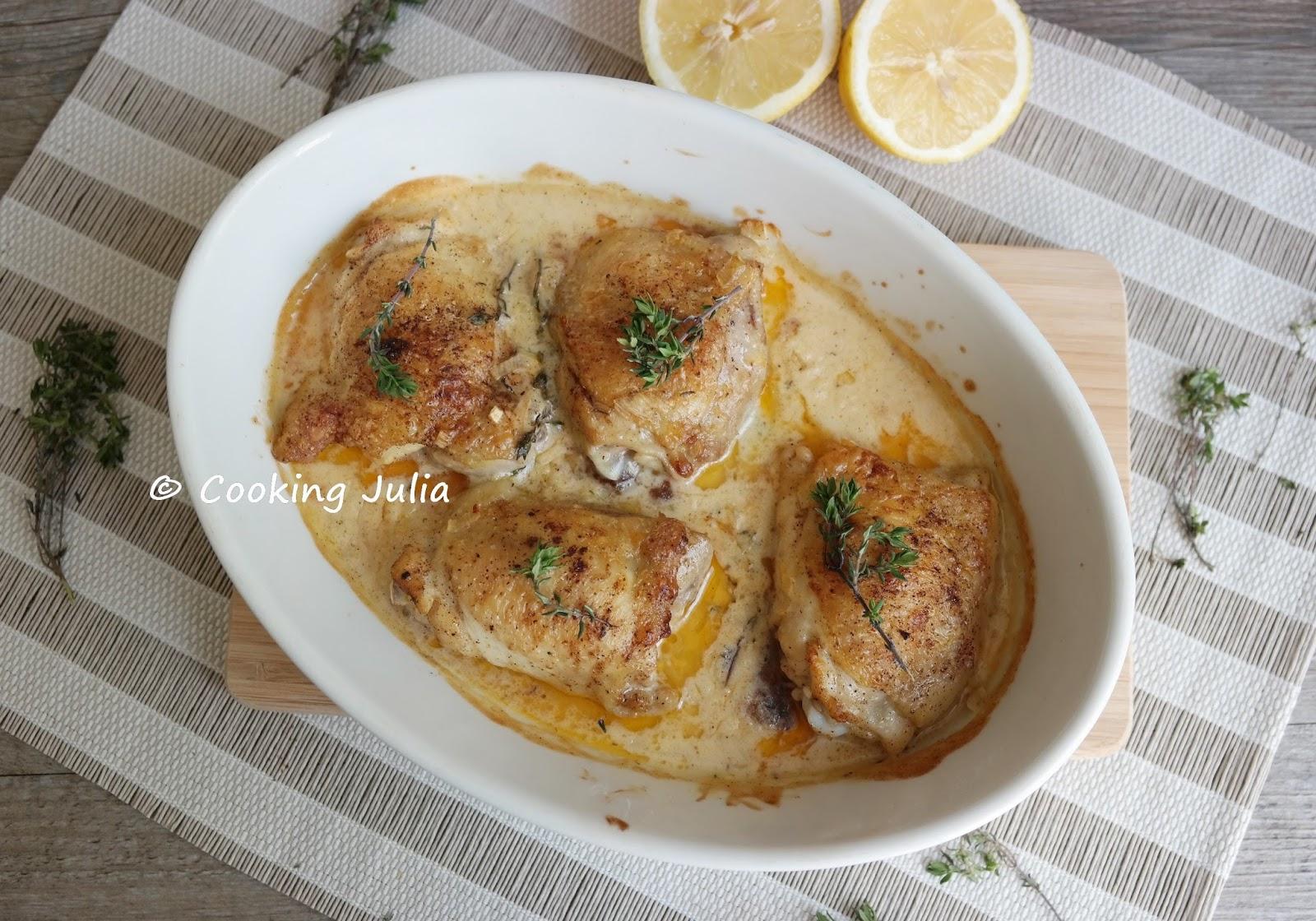 Cooking julia poulet au thym ail et citron - Echalote cuisse de poulet ...
