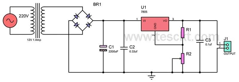 7805 adjustable regulator circuit