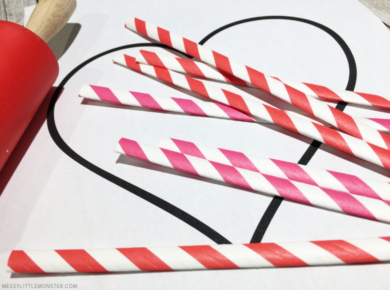 heart craft template and supplies